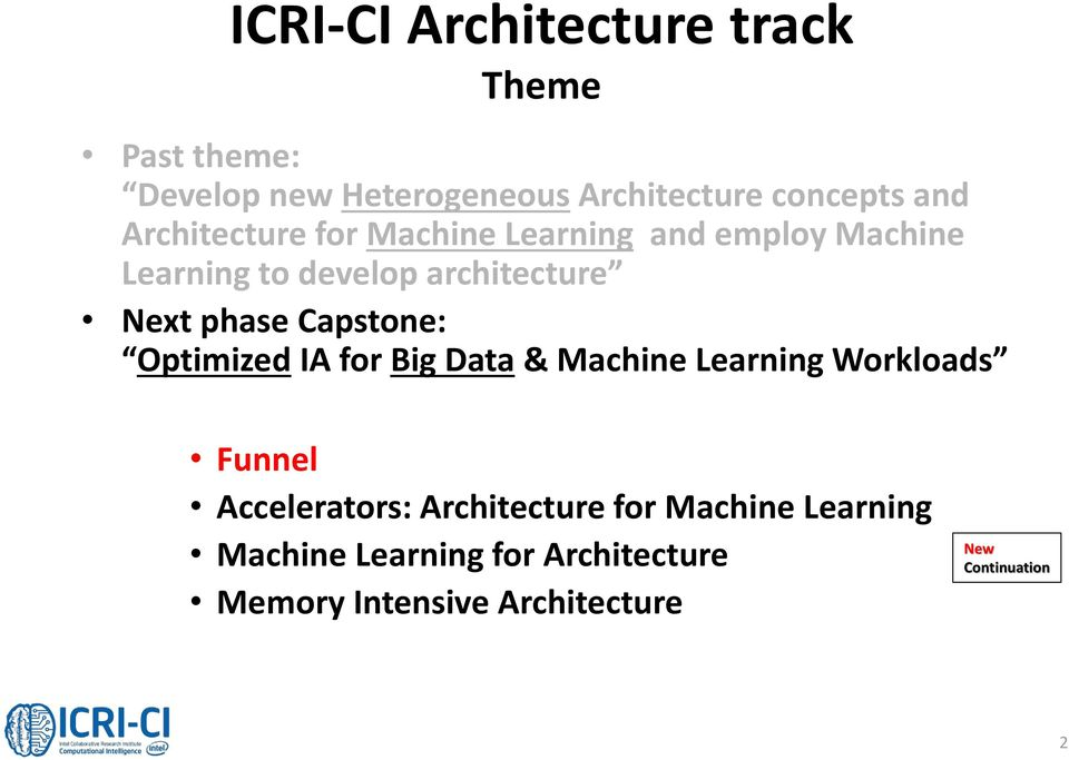 Capstone: Optimized IA for Big Data & Machine Learning Workloads Funnel Accelerators: Architecture