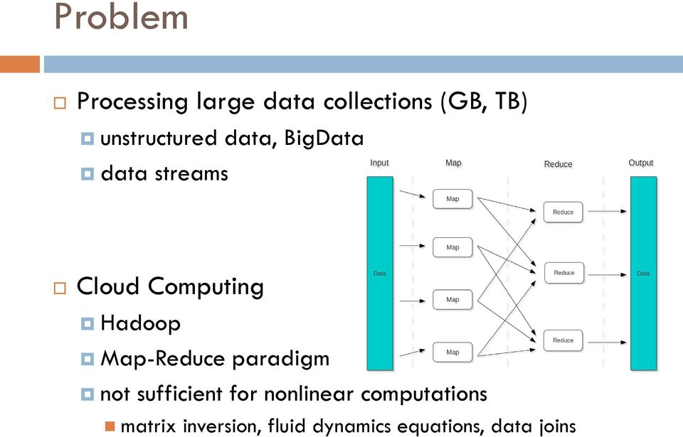 Hadoop Map-Reduce paradigm not sufficient for nonlinear
