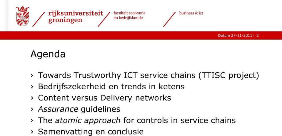 Content versus Delivery networks Assurance guidelines The