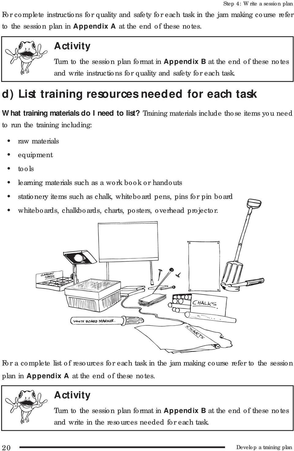 d) List training resources needed for each task What training materials do I need to list?