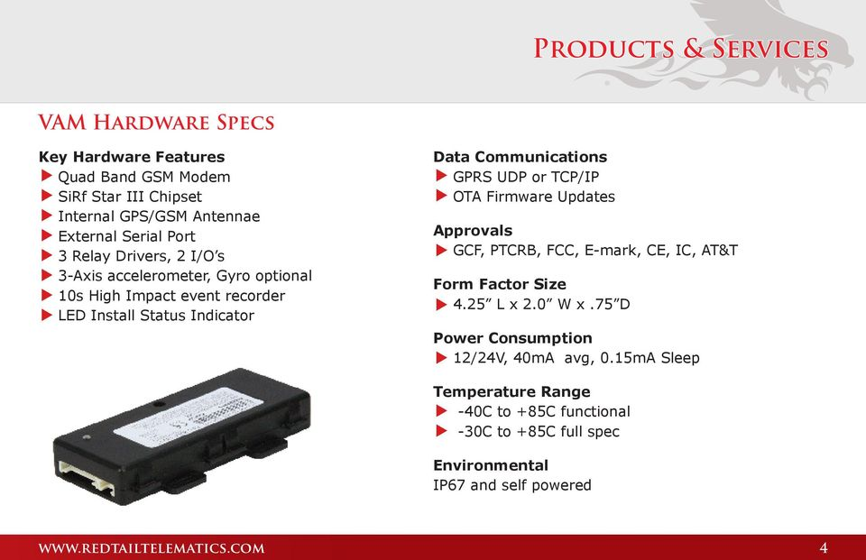 UDP or TCP/IP OTA Firmware Updates Approvals GCF, PTCRB, FCC, E-mark, CE, IC, AT&T Form Factor Size 4.25 L x 2.0 W x.
