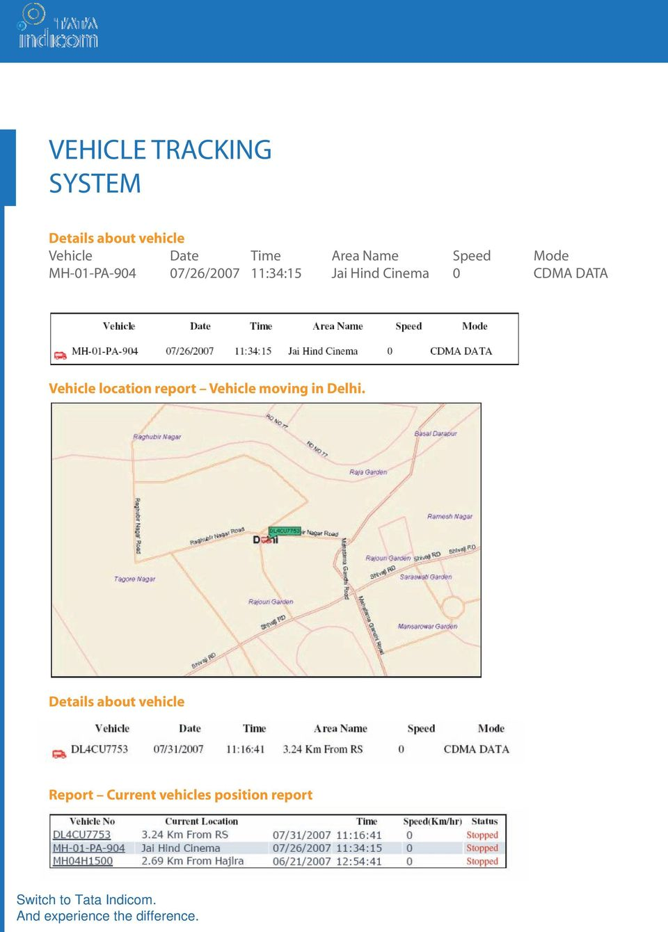 CDMA DATA Vehicle location report Vehicle moving in Delhi.