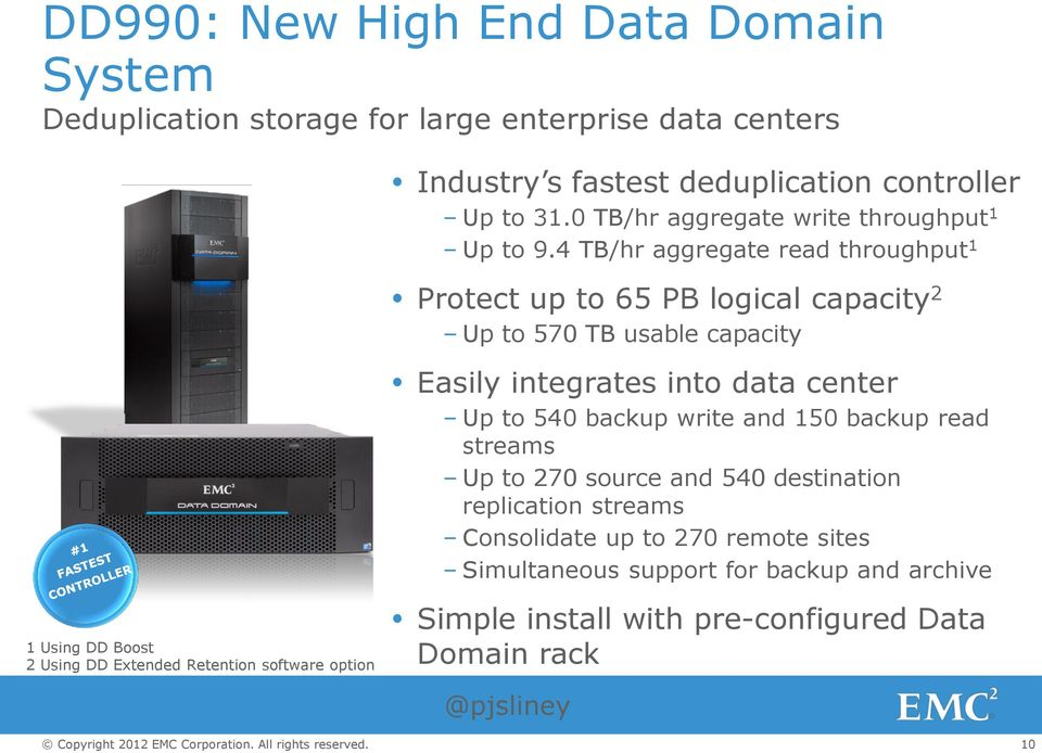 4 TB/hr aggregate read throughput 1 1 Using DD Boost 2 Using DD Extended Retention software option Protect up to 65 PB logical capacity 2 Up to 570 TB usable