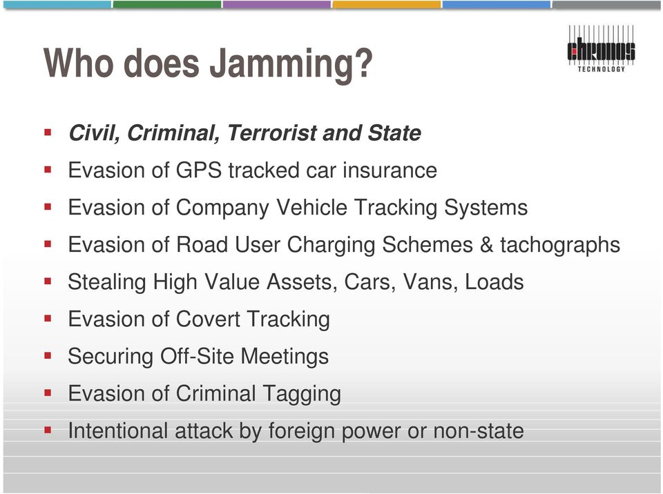 Company Vehicle Tracking Systems Evasion of Road User Charging Schemes & tachographs