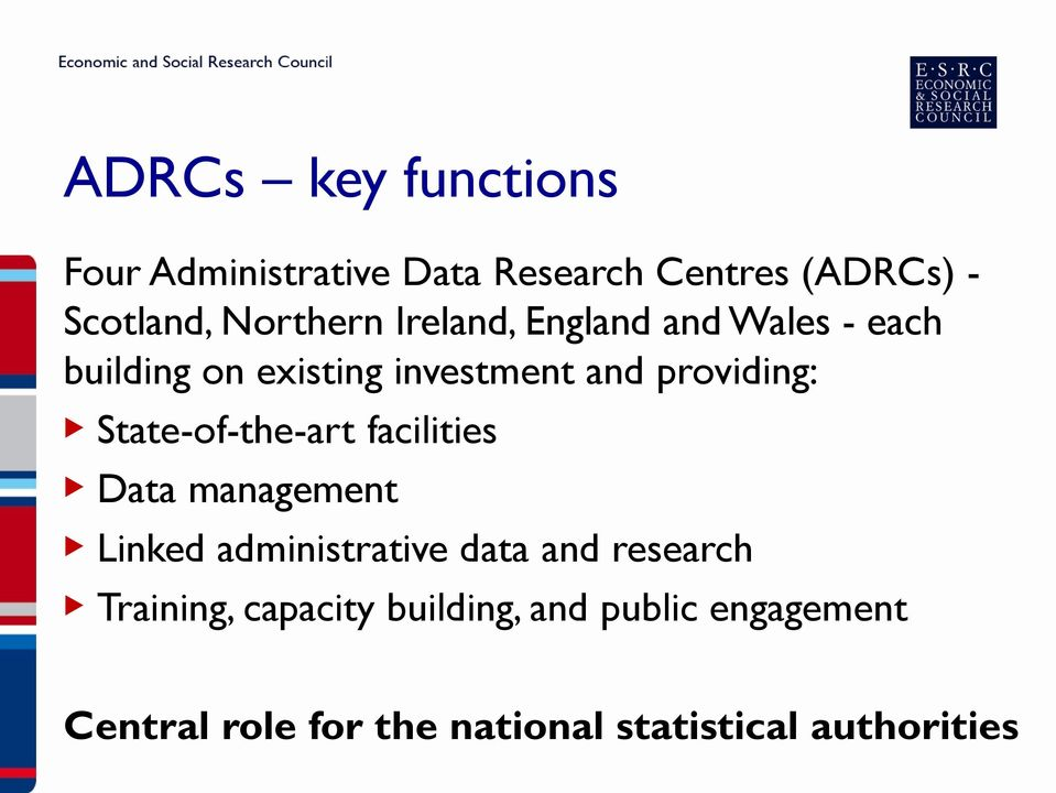 State-of-the-art facilities Data management Linked administrative data and research