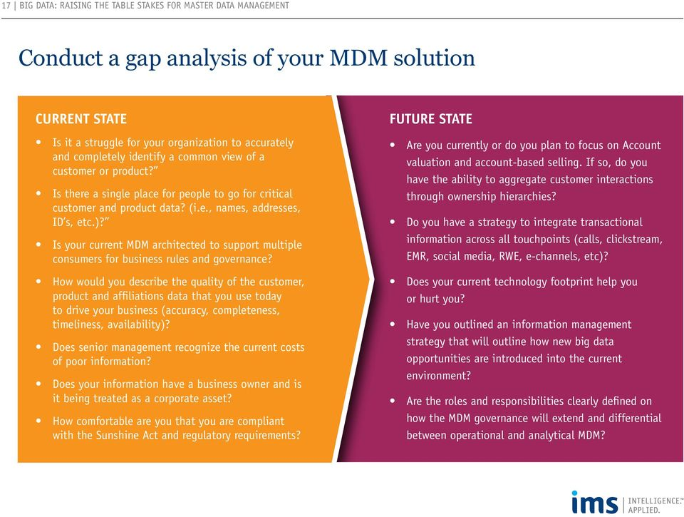 Is your current MDM architected to support multiple consumers for business rules and governance?