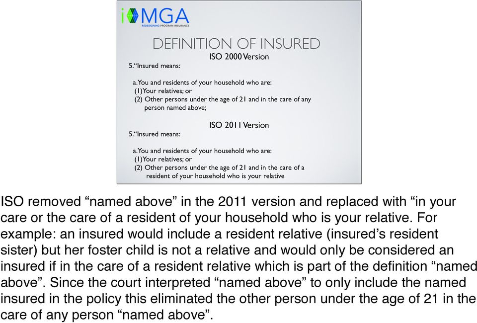 you and residents of your household who are: (1)Your relatives; or (2) Other persons under the age of 21 and in the care of a resident of your household who is your relative ISO removed named above