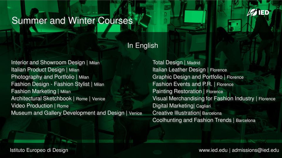 Venice Total Design Madrid Italian Leather Design Florence Graphic Design and Portfolio Florence Fashion Events and P.R.
