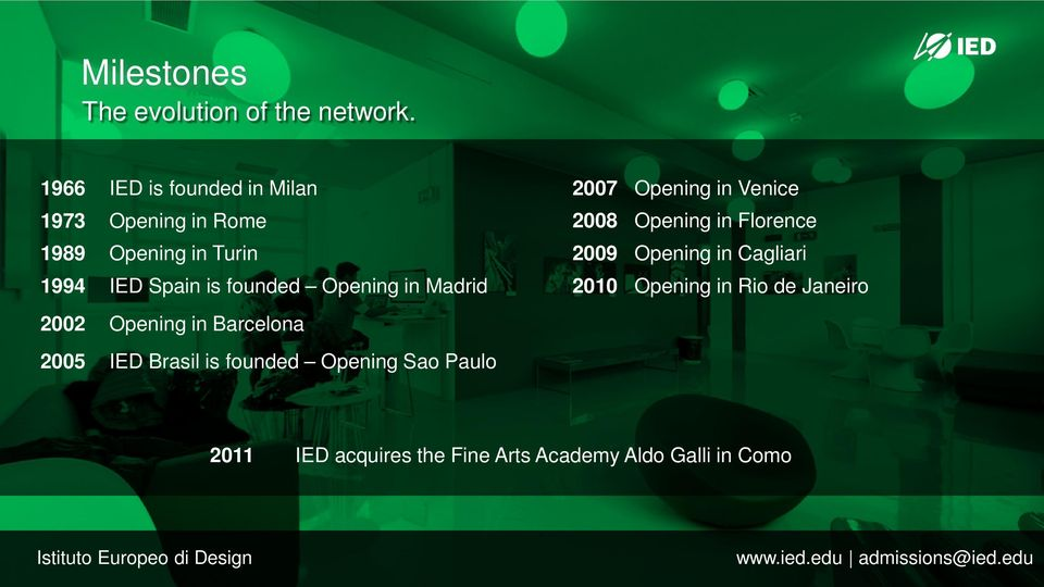 Opening in Madrid 2002 Opening in Barcelona 2005 IED Brasil is founded Opening Sao Paulo 2007