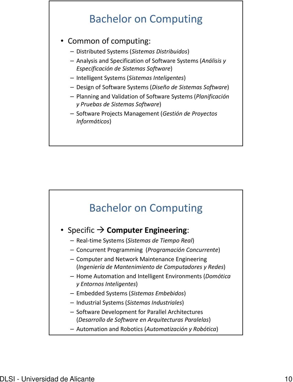 Management (Gestión de Proyectos Informáticos) Bachelor on Computing Specific Computer Engineering: Real time Systems (Sistemas de Tiempo Real) Concurrent Programming (Programación Concurrente)