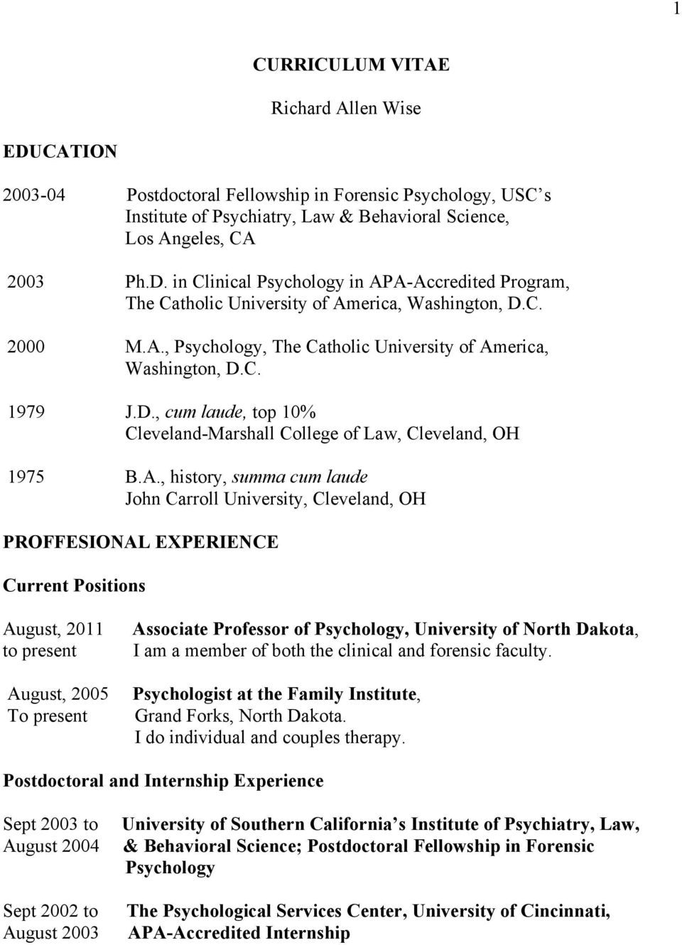 , Psychology, The Catholic University of Am