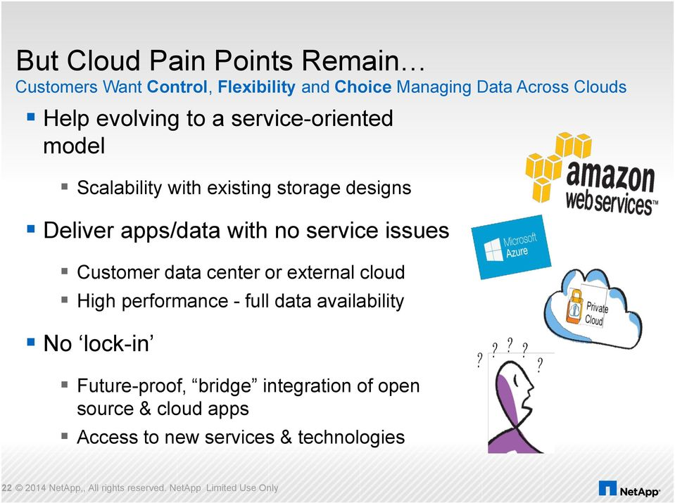 data center or external cloud High performance - full data availability No lock-in Future-proof, bridge integration of