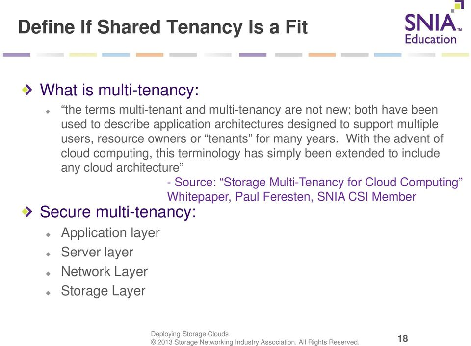 With the advent of cloud computing, this terminology has simply been extended to include any cloud architecture - Source: Storage