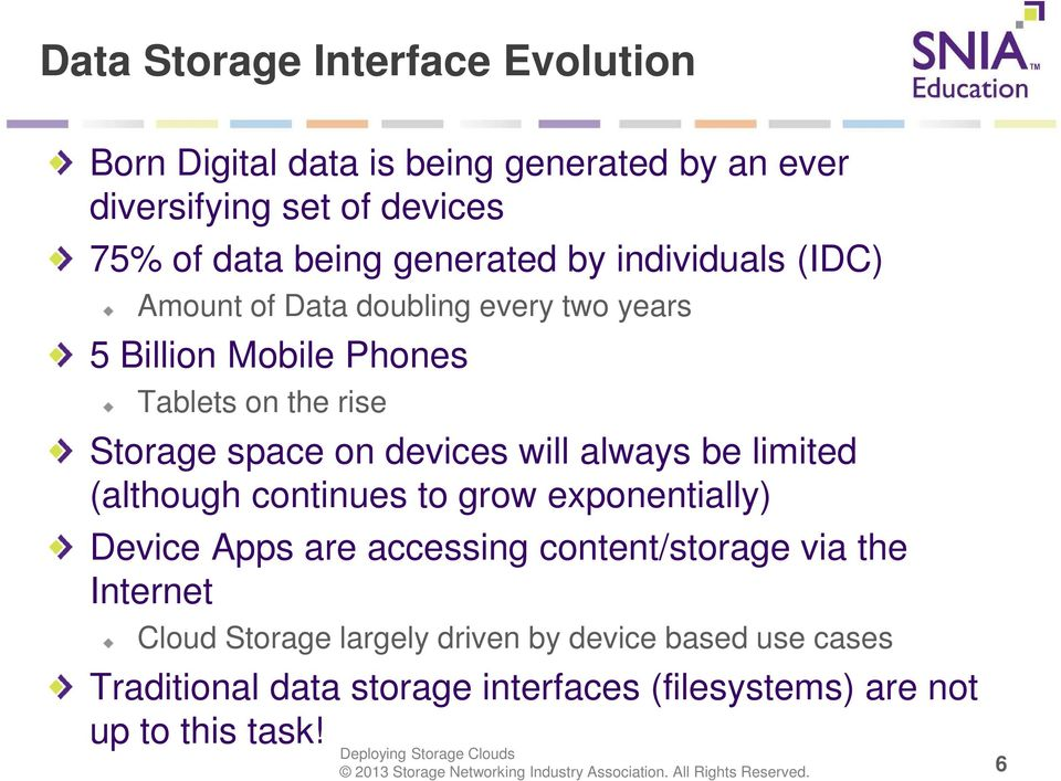 on devices will always be limited (although continues to grow exponentially) Device Apps are accessing content/storage via the