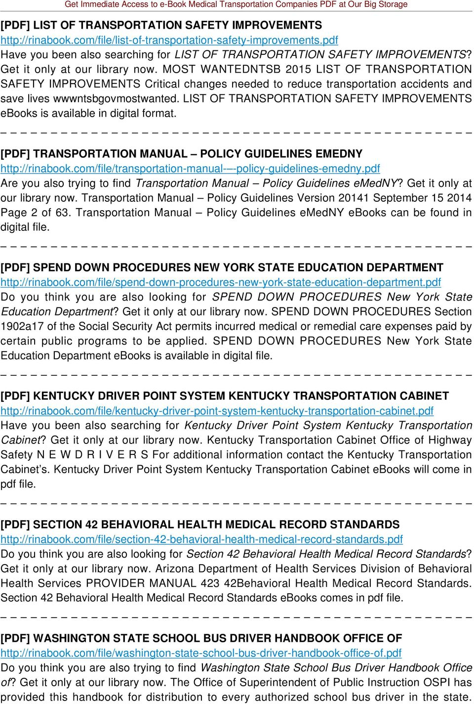 LIST OF TRANSPORTATION SAFETY IMPROVEMENTS ebooks is available in digital format. [PDF] TRANSPORTATION MANUAL POLICY GUIDELINES EMEDNY http://rinabook.