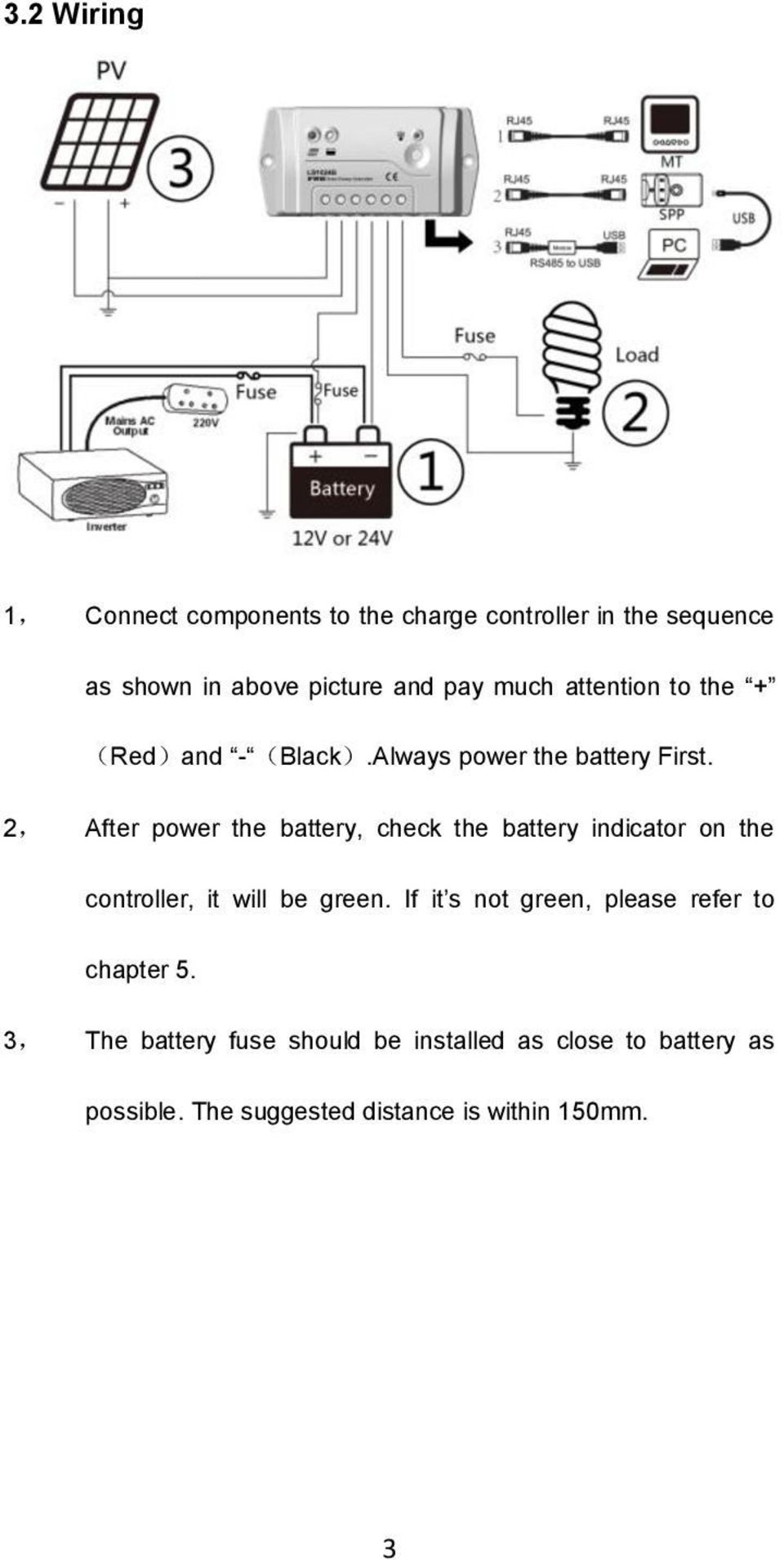 2, After power the battery, check the battery indicator on the controller, it will be green.