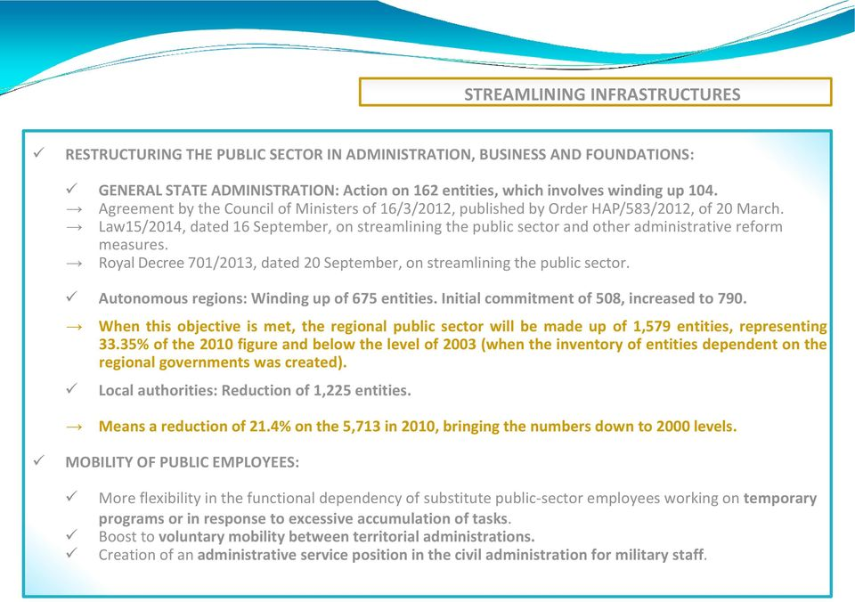 Law15/2014, dated 16 September, on streamlining the public sector and other administrative reform measures. Royal Decree 701/2013, dated 20 September, on streamlining the public sector.