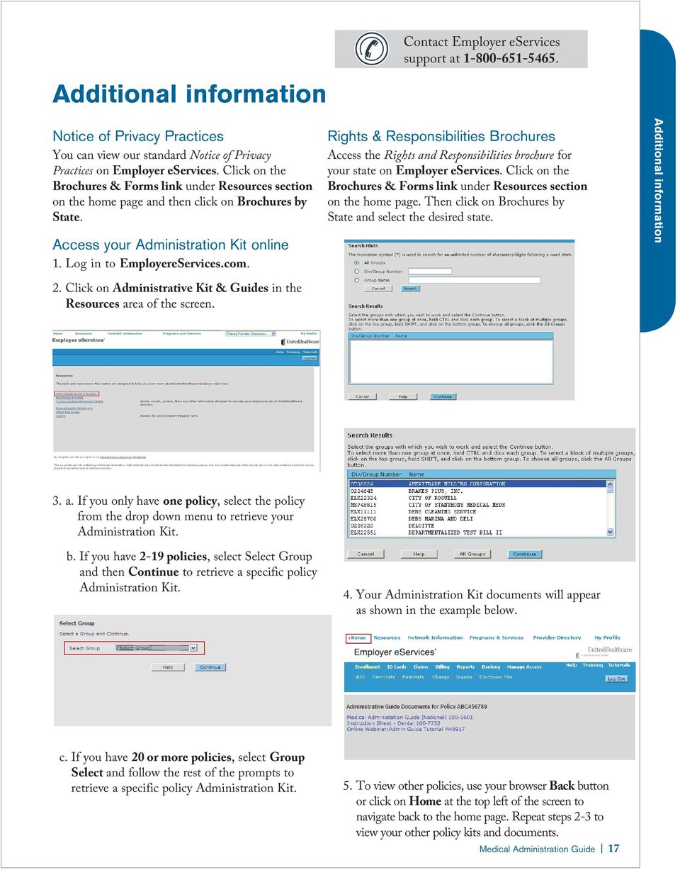 Rights & Responsibilities Brochures Access the Rights and Responsibilities brochure for your state on Employer eservices. Click on the Brochures & Forms link under Resources section on the home page.