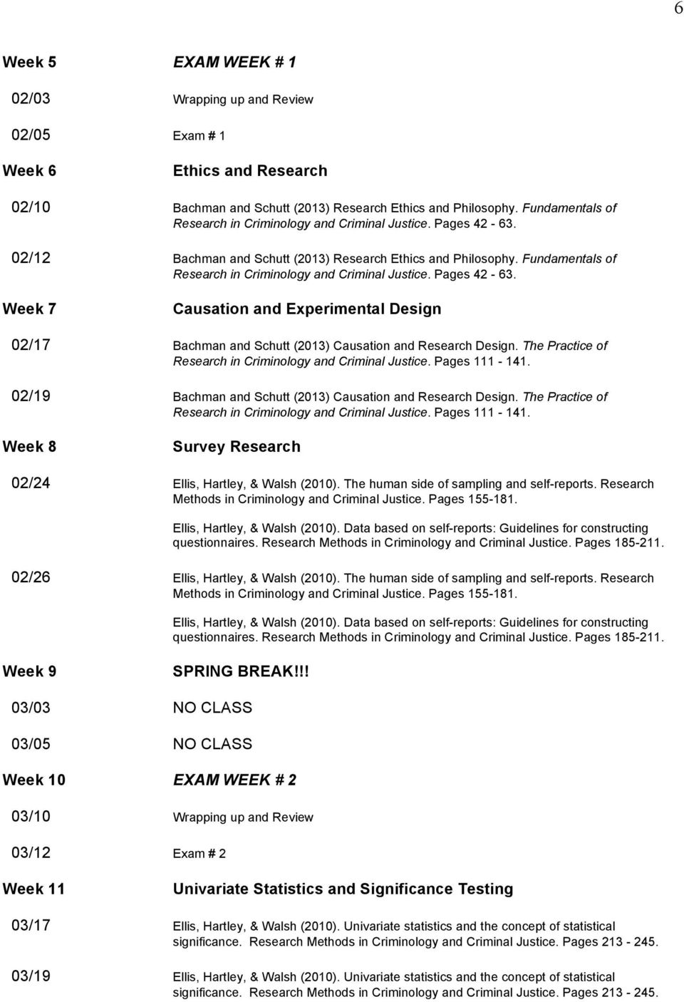 Pages 42-63. Week 7 Causation and Experimental Design 02/17 Bachman and Schutt (2013) Causation and Research Design. The Practice of Research in Criminology and Criminal Justice. Pages 111-141.