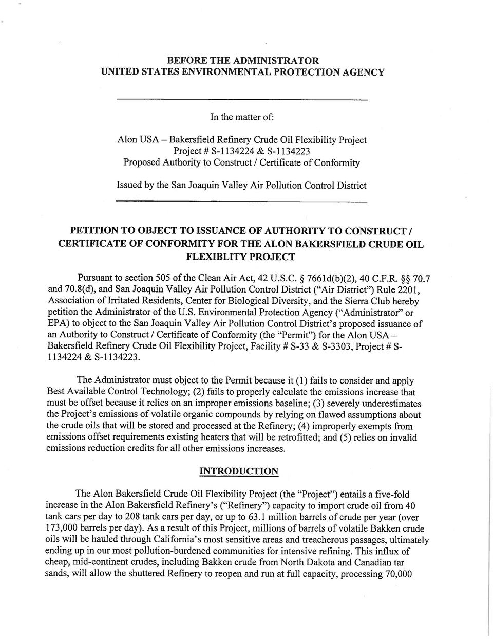 ALON BAKERSFIELD CRUDE OIL FLEXIBLITY PROJECT Pursuant to section 505 of the Clean Air Act, 42 U.S.C. 766 ld(b)(2), 40 C.F.R. ~ 70.7 and 70.