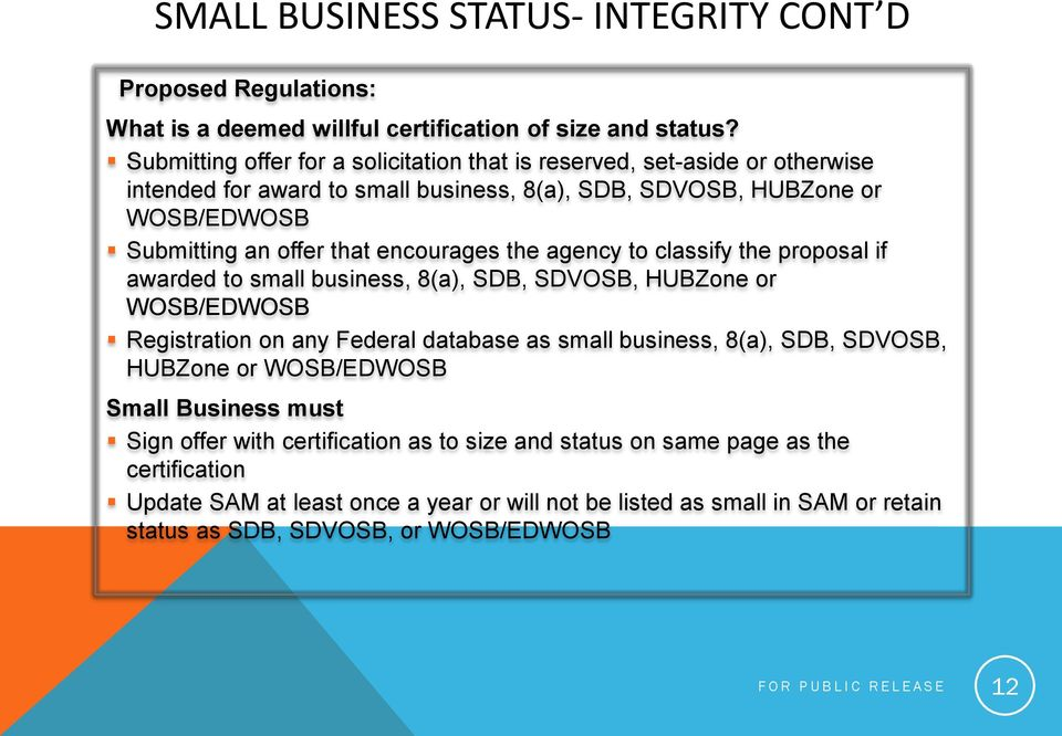 the agency to classify the proposal if awarded to small business, 8(a), SDB, SDVOSB, HUBZone or WOSB/EDWOSB Registration on any Federal database as small business, 8(a), SDB, SDVOSB, HUBZone or