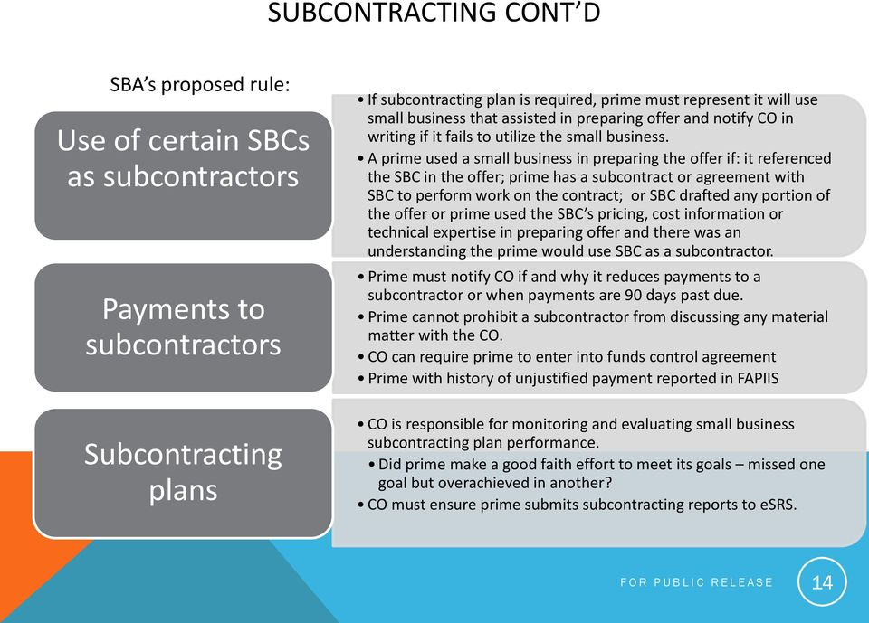 A prime used a small business in preparing the offer if: it referenced the SBC in the offer; prime has a subcontract or agreement with SBC to perform work on the contract; or SBC drafted any portion