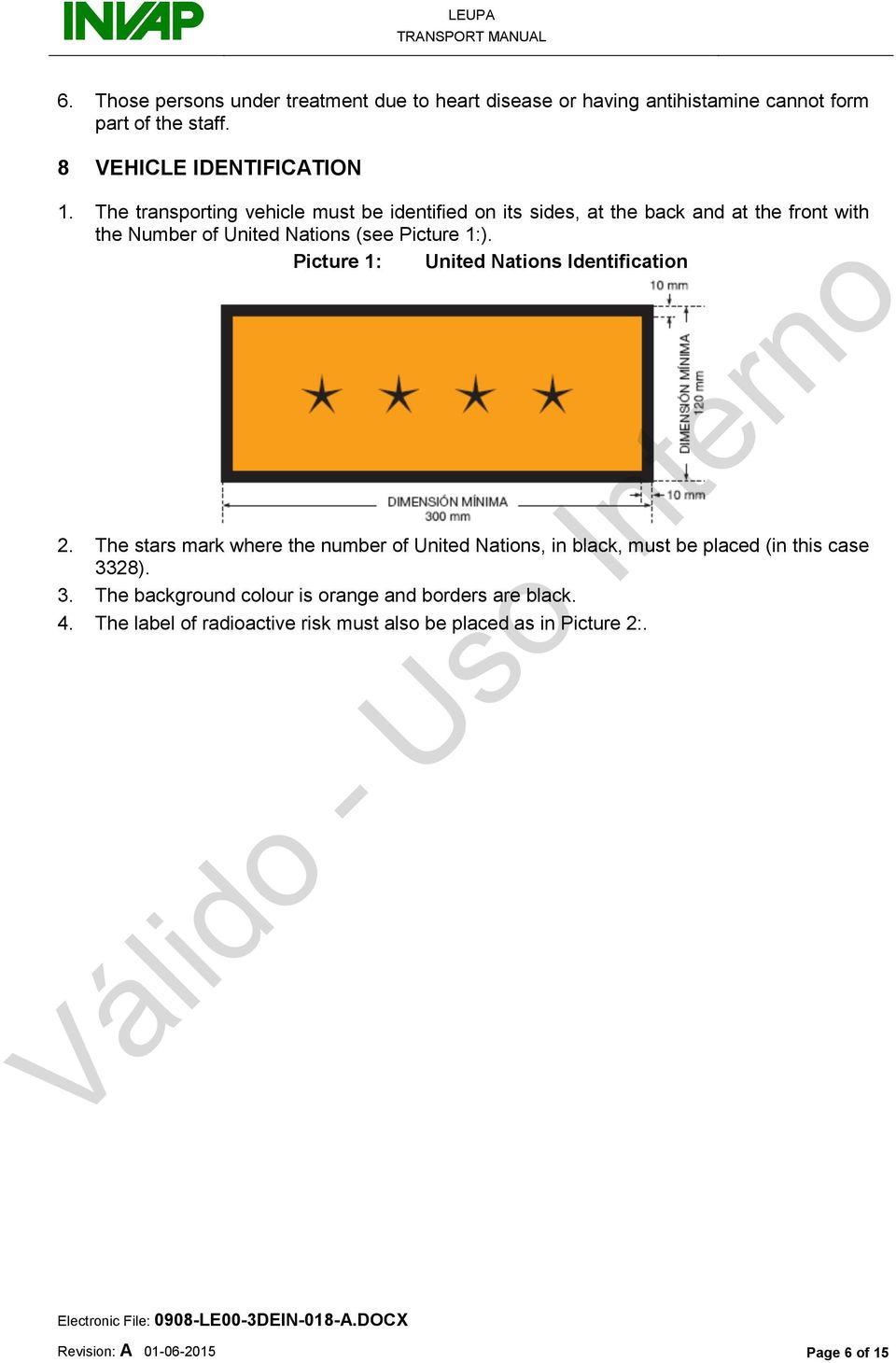 Picture 1: United Nations Identification 2. The stars mark where the number of United Nations, in black, must be placed (in this case 33