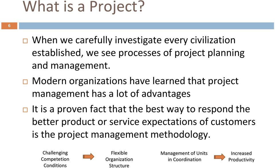 Modern organizations have learned that project management has a lot of advantages It is a proven fact that the best way
