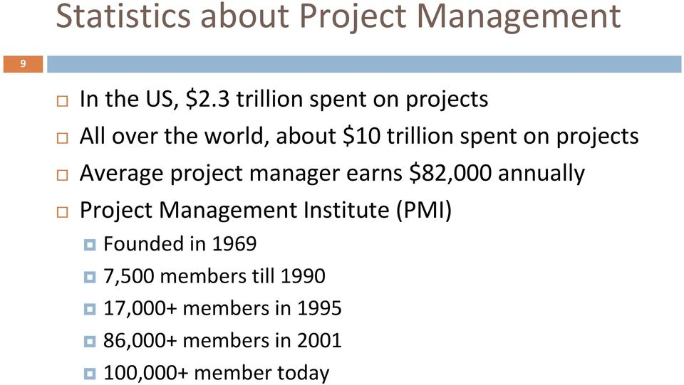 projects Average project manager earns $82,000 annually Project Management