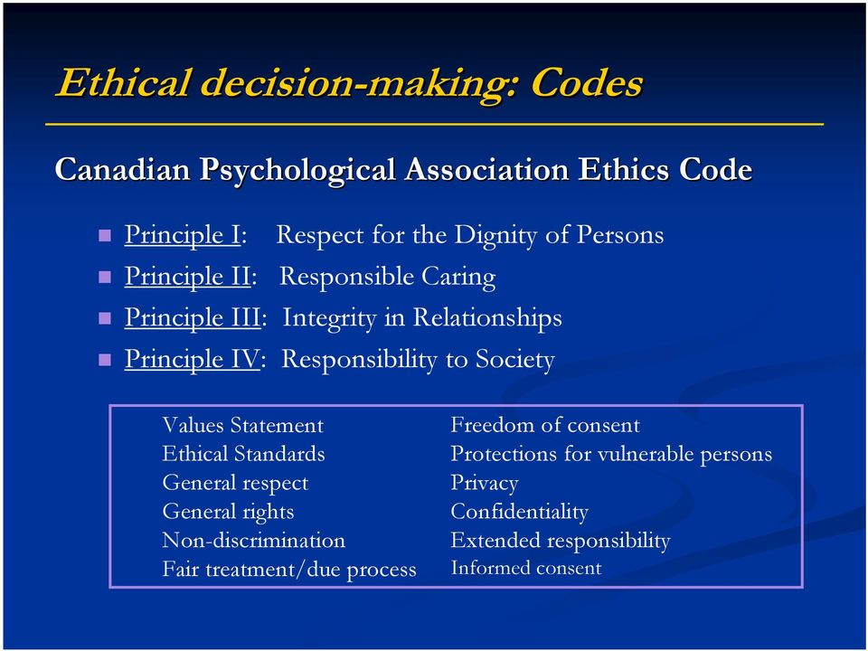 Society Values Statement Ethical Standards General respect General rights Non-discrimination Fair treatment/due