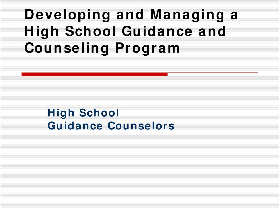 Counseling Program High