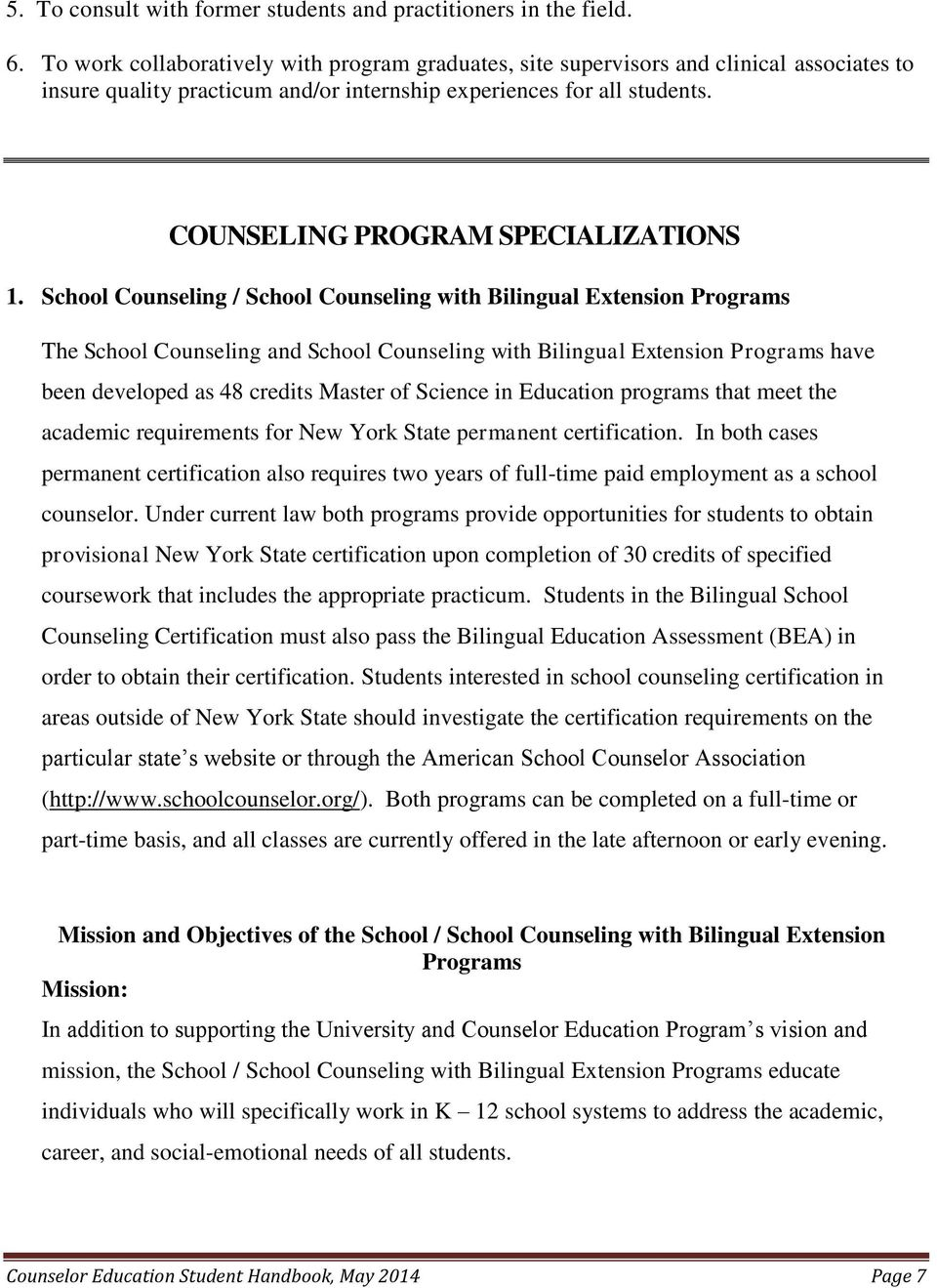 COUNSELING PROGRAM SPECIALIZATIONS 1.