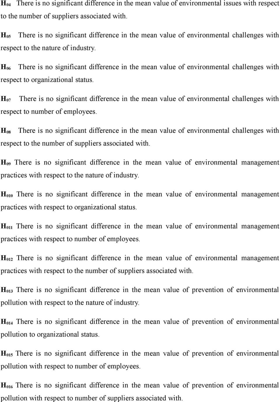 H 06 There is no significant difference in the mean value of environmental challenges with respect to organizational status.