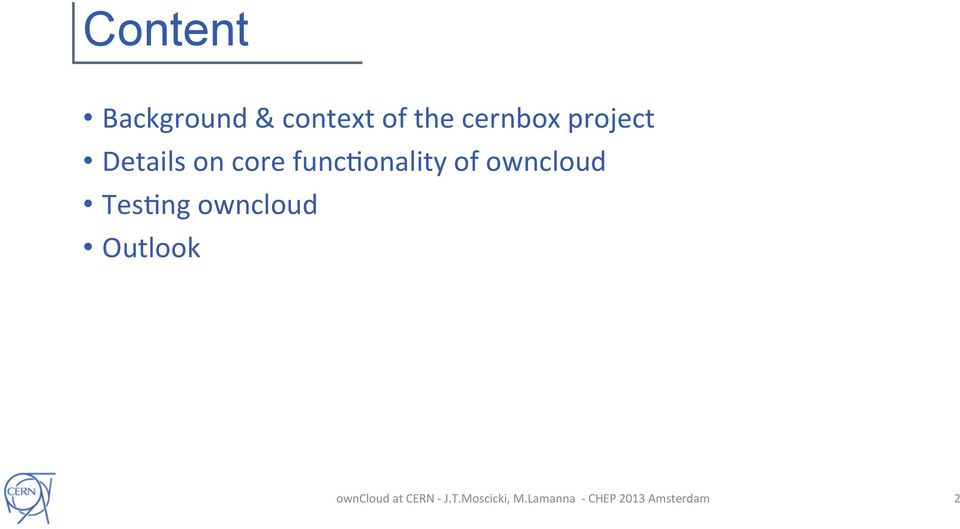 Details on core funcmonality
