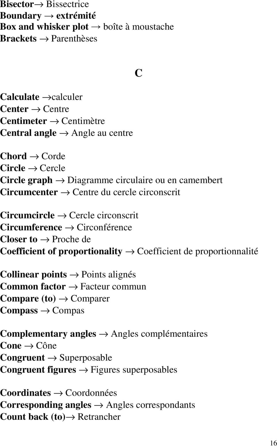 Proche de Coefficient of proportionality Coefficient de proportionnalité C Collinear points Points alignés Common factor Facteur commun Compare (to) Comparer Compass Compas Complementary