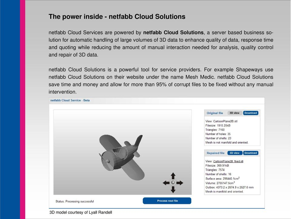 of 3D data. netfabb Cloud Solutions is a powerful tool for service providers. For example Shapeways use netfabb Cloud Solutions on their website under the name Mesh Medic.