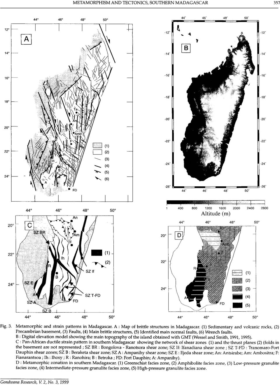 Metamorphic and strain patterns in Madagascar. A : Map of brittle structures in Madagascar.