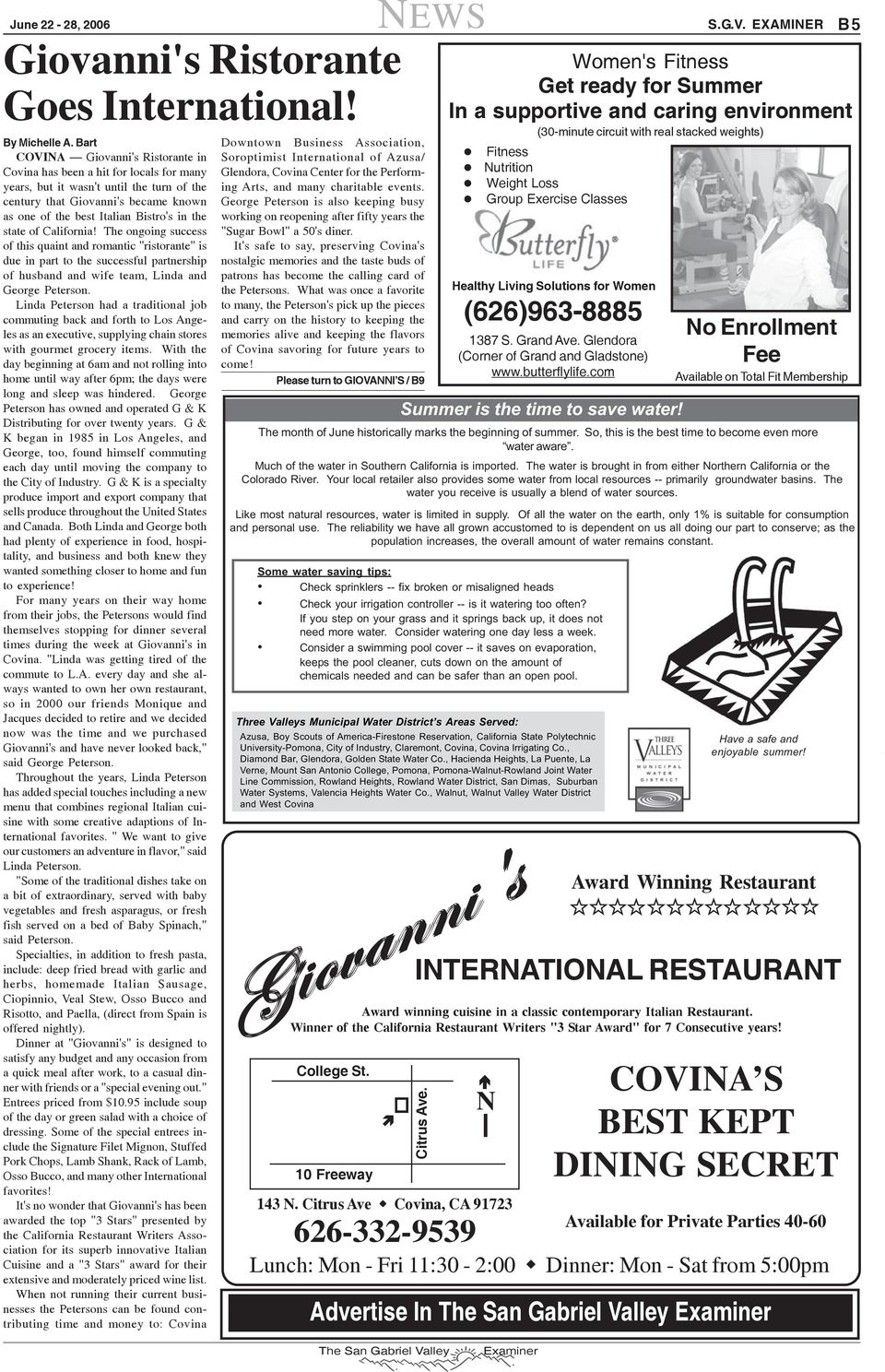 "the state of California! The ongoing success of this quaint and romantic ""ristorante"" is due in part to the successful partnership of husband and wife team, Linda and George Peterson."