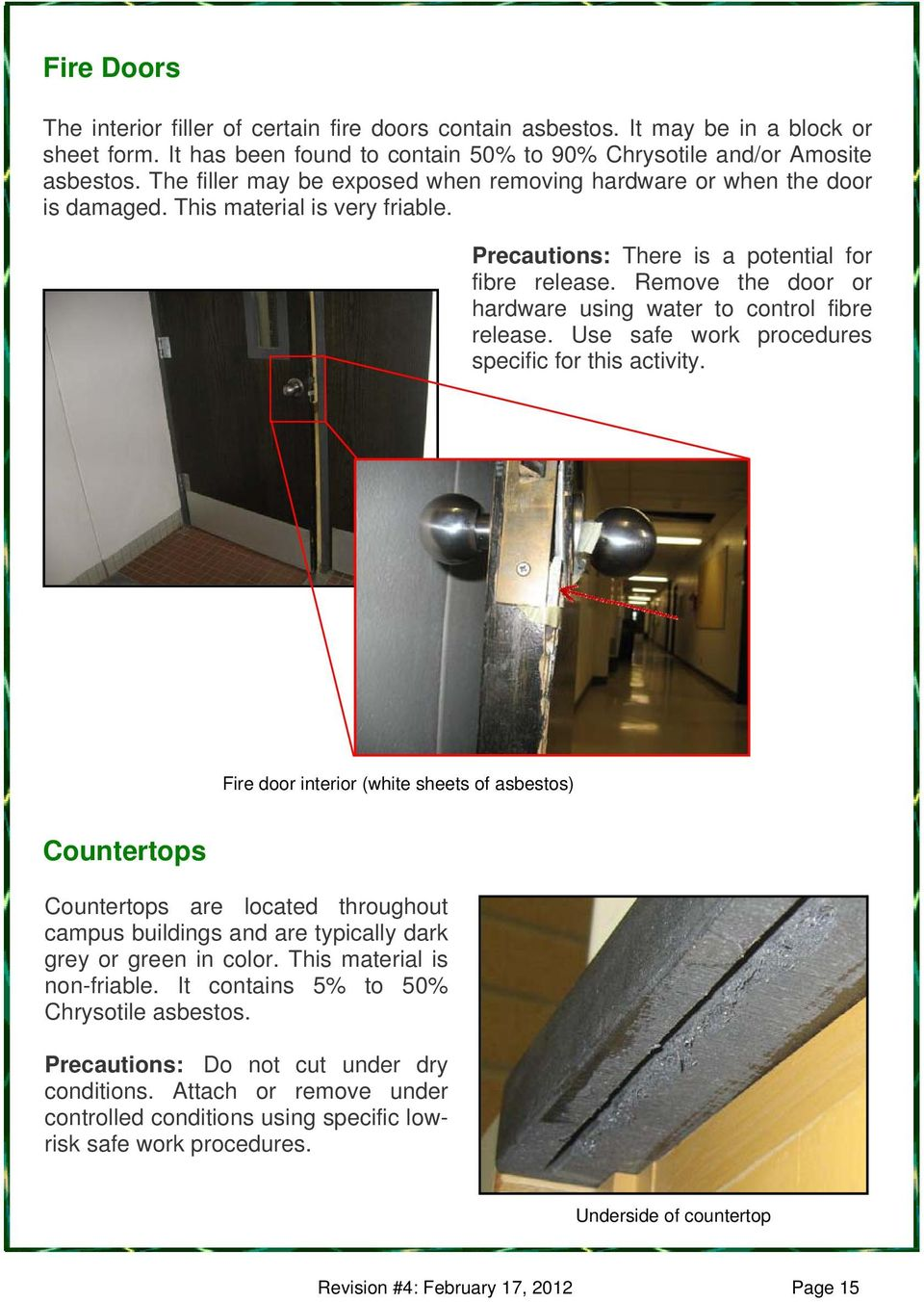 Remove the door or hardware using water to control fibre release. Use safe work procedures specific for this activity.