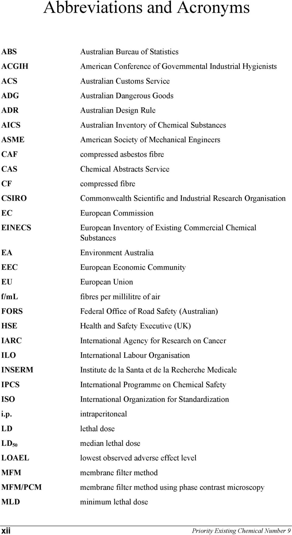 Australian Inventory of Chemical Substances American Society of Mechanical Engineers compressed asbestos fibre Chemical Abstracts Service compressed fibre Commonwealth Scientific and Industrial