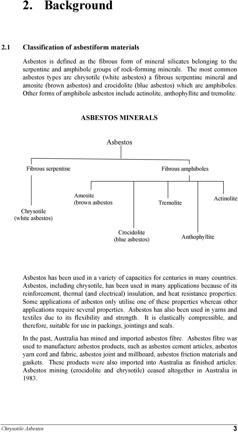 Other forms of amphibole asbestos include actinolite, anthophyllite and tremolite.
