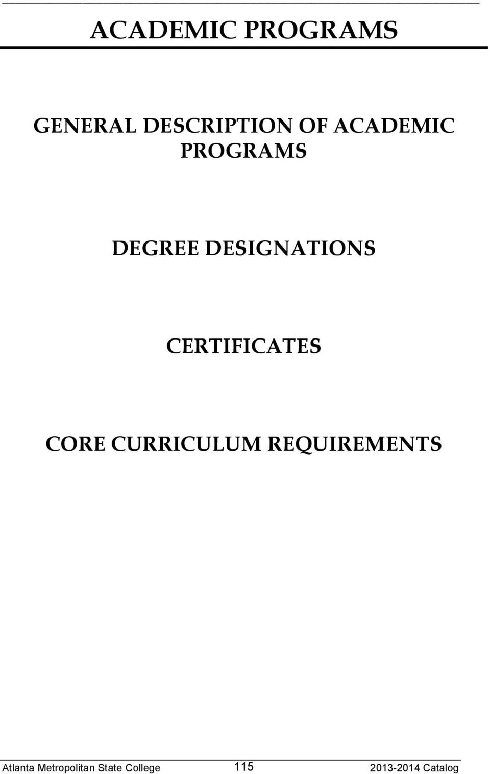 PROGRAMS DEGREE DESIGNATIONS