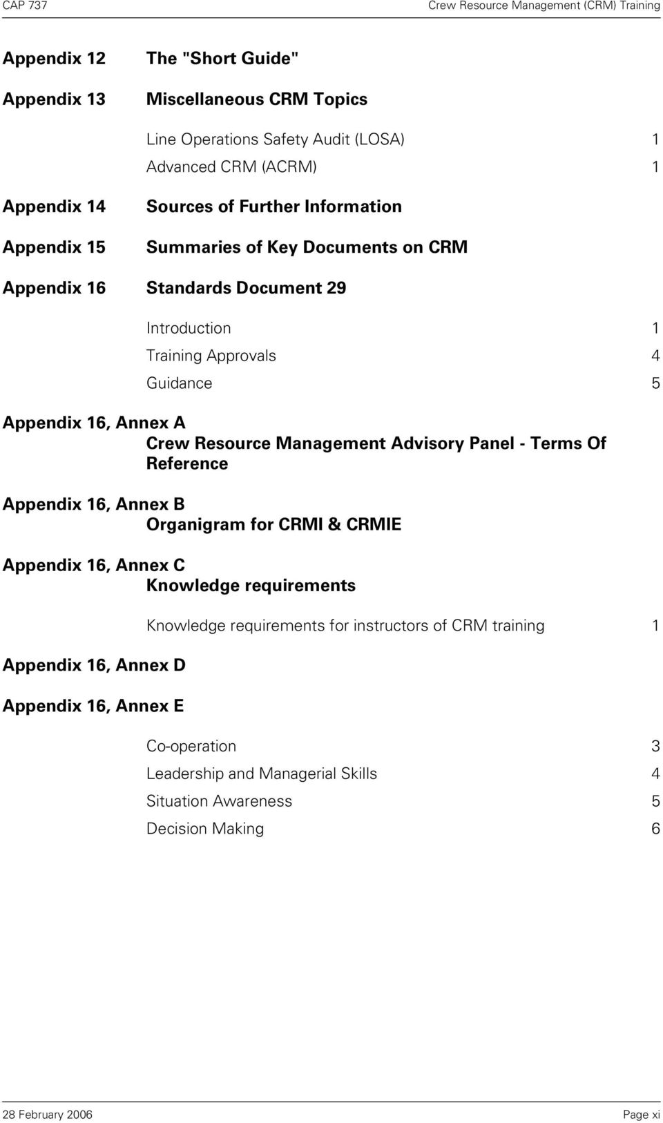 Resource Management Advisory Panel - Terms Of Reference Appendix 16, Annex B Organigram for CRMI & CRMIE Appendix 16, Annex C Knowledge requirements Appendix 16,