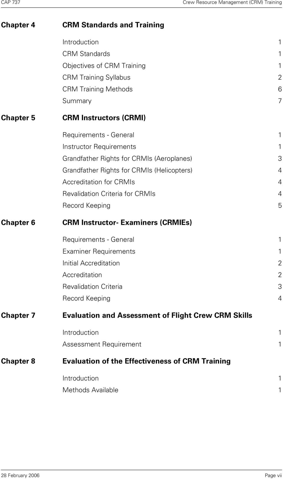 CRMIs 4 Record Keeping 5 Chapter 6 CRM Instructor- Examiners (CRMIEs) Requirements - General 1 Examiner Requirements 1 Initial Accreditation 2 Accreditation 2 Revalidation Criteria 3 Record
