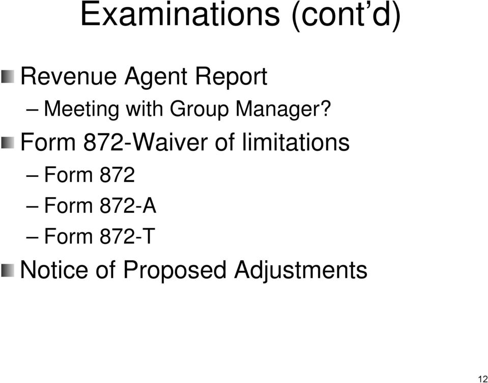 Form 872-Waiver of limitations Form 872