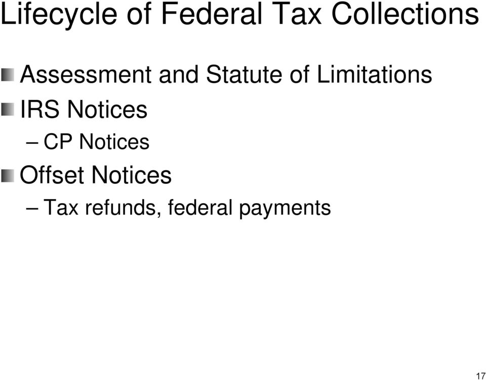 Limitations IRS Notices CP Notices
