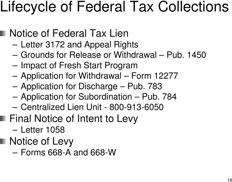 1450 Impact of Fresh Start Program Application for Withdrawal Form 12277 Application for Discharge