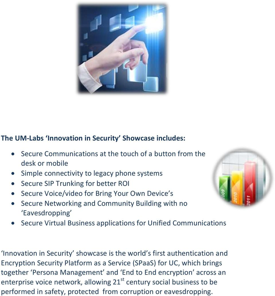 Unified Communications Innovation in Security showcase is the world s first authentication and Encryption Security Platform as a Service (SPaaS) for UC, which brings together