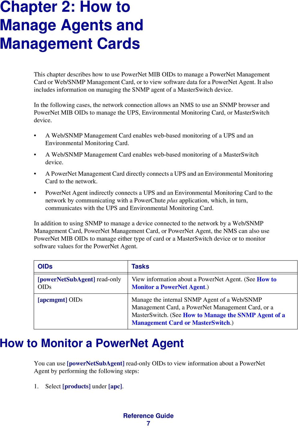 In the following cases, the network connection allows an NMS to use an SNMP browser and PowerNet MIB s to manage the UPS, Environmental Monitoring Card, or MasterSwitch device.
