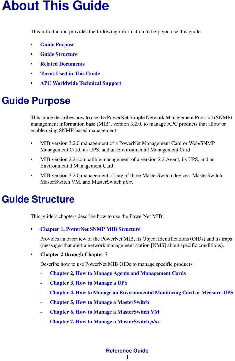 (SNMP) management information base (MIB), version 3.2.0, to manage APC products that allow or enable using SNMP-based management: MIB version 3.2.0 management of a PowerNet Management Card or Web/SNMP Management Card, its UPS, and an Environmental Management Card MIB version 2.